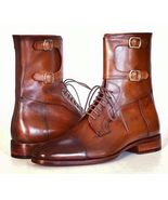 Men Latest Shaded Toe Unique Lace Up & Buckles Hand Stitched Leather Boots - $159.99+