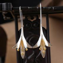 Vintage 925 Silver Plated Flower Earrings Drop Dangle Earrings Handmade ... - $2.80