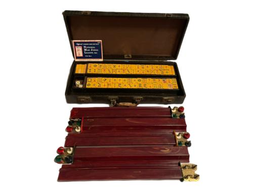 Vintage Butterscotch Bakelite Mah Jongg Set MET Games Perching Parrot USA Made