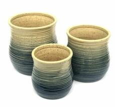 Ceramic Planters Set of 3 Blue Rings Vases Flower Pots inside Outside Decor - $66.93
