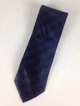 Club Room By Charter Club Tie Navy Blue Diagonal Stripe 100% Silk - $6.97