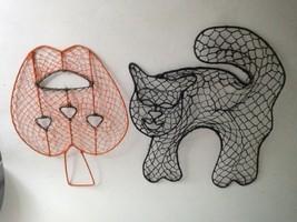 Halloween Hanging Door & Wall Decorations Threaded Wire Frame Cat Pumpki... - $8.66