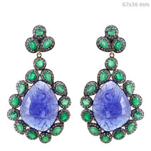 925 Silver Tanzanite/Emerald Dangle Earrings 14k Gold 2.9ct Diamond Pave... - $4,306.50