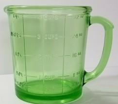 A & J HAZEL ATLAS DEPRESSION ERA URANIUM GLASS MEASURING CUP - $128.69