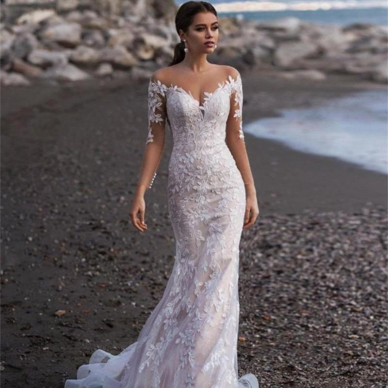 T lace appliqued mermaid wedding dresses for women long sleeve beach wedding gowns back illusion