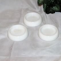 VINTAGE HAZEL ATLAS WHITE MILK GLASS FURNITURE CASTER CUPS LOT OF 3 COAS... - $15.97