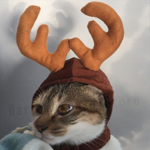 Cap Hat For Teddy Kitten Christmas Elk Antler Reindeer Cat Costume Warms... - $9.49