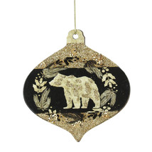 "Kurt Adler 4"" Gold and Black Woodland Bear Silhouette Onion Christmas Or... - $5.68"