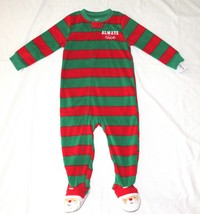 Boy Girl Carters Fleece Footed Pajama 2T Blanket Sleeper Santa Feet Always Nice - $7.99