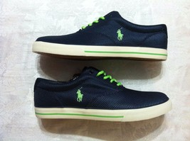 Polo Ralph Lauren Mens New Navy BLUE/GREEN Pony Mesh Fashion Sneakers Size: 10.5 - $48.62