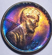 1945 D Lincoln Wheat Cent  MS+++  toner++with purple colors. C3 - $53.90
