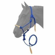 ROYAL BLUE TOUGH-1 HORSE SIZE RAWHIDE NOSEBAND POLY NYLON ROPE HALTER W/... - $23.95