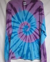 Long Sleeve Purple & Turquiose Swirl TIE DYE T-SHIRT mens womens SIZE  2x - $16.99