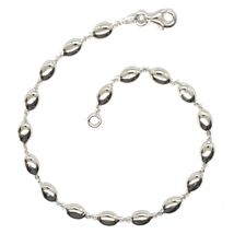 BRACELET WHITE GOLD 18K 750, COFFEE BEANS OF RICE, OVALS FULL, POLISHED, 19.5 CM image 2