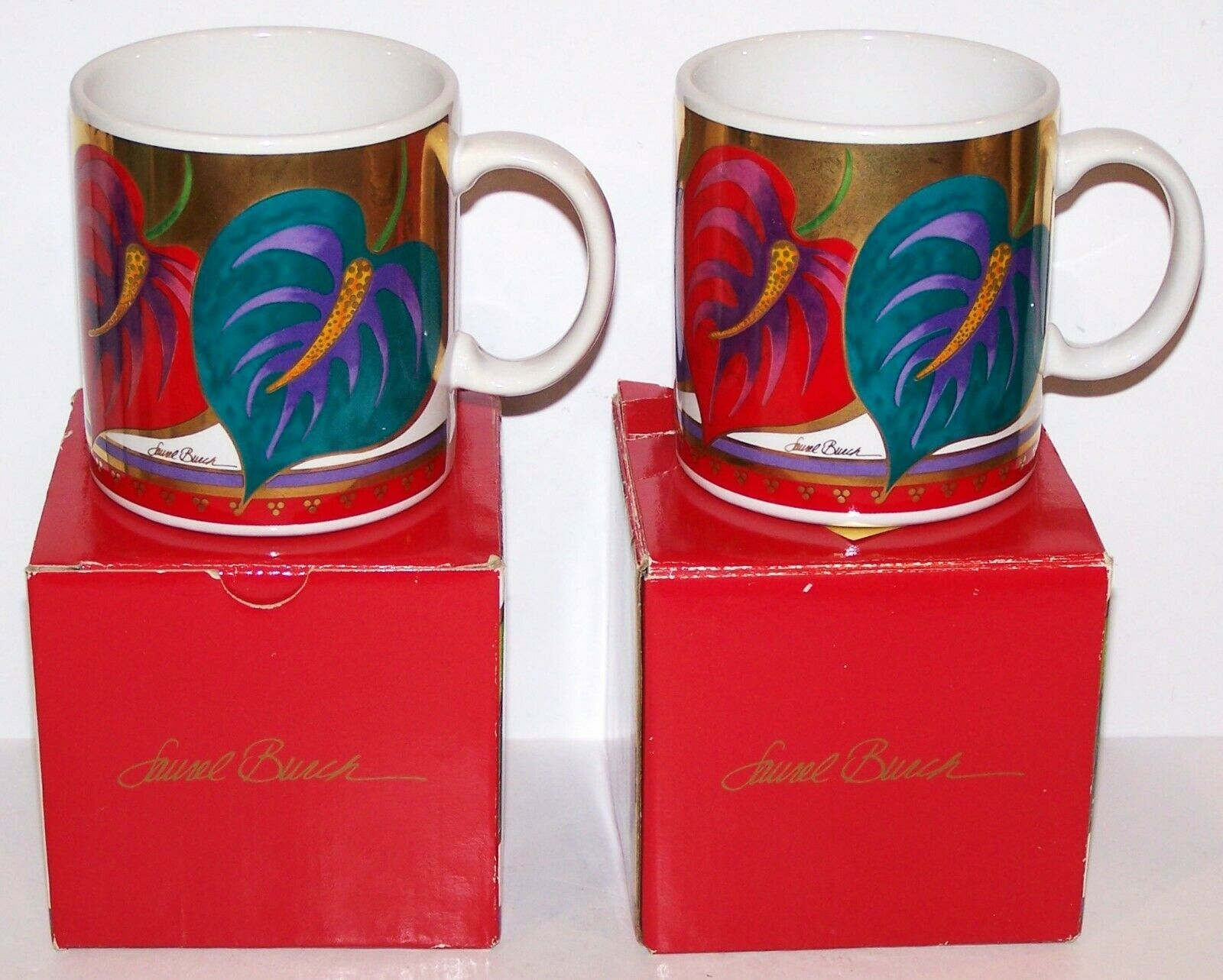 GORGEOUS PAIR OF LAUREL BURCH ANTHURIUM FLORAL COFFEE MUGS IN BOXES - $49.49