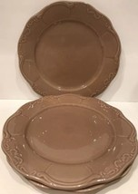 """Casa Cristina """"CAFE"""" Set Of 3 Dinner Plates Embossed Brown Scalloped - $29.69"""