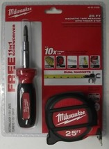 Milwaukee 48-22-5125X 25' Magnetic Tape Measure With 11-in-1 Screwdriver - $20.79