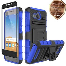 Aoways for Alcatel Tetra Case, with Full Cover Tempered Glass Screen (Blue) - $18.56