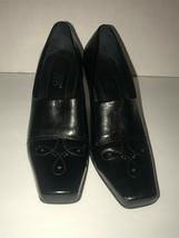 Franco Sarto Black Leather Square Toe Heels Womens Size 6M - $32.67