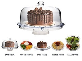 Homeries Multi-Purpose 6 in 1 Cake Stand with Dome Lid - Multifunctional... - $23.07