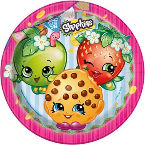 """Shopkins Paper 9"""" Dinner Lunch Plates 8 Ct Birthday"""