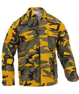 Mens Yellow Camouflage Military BDU Shirt Tactical Uniform Army Coat Fat... - $27.99+