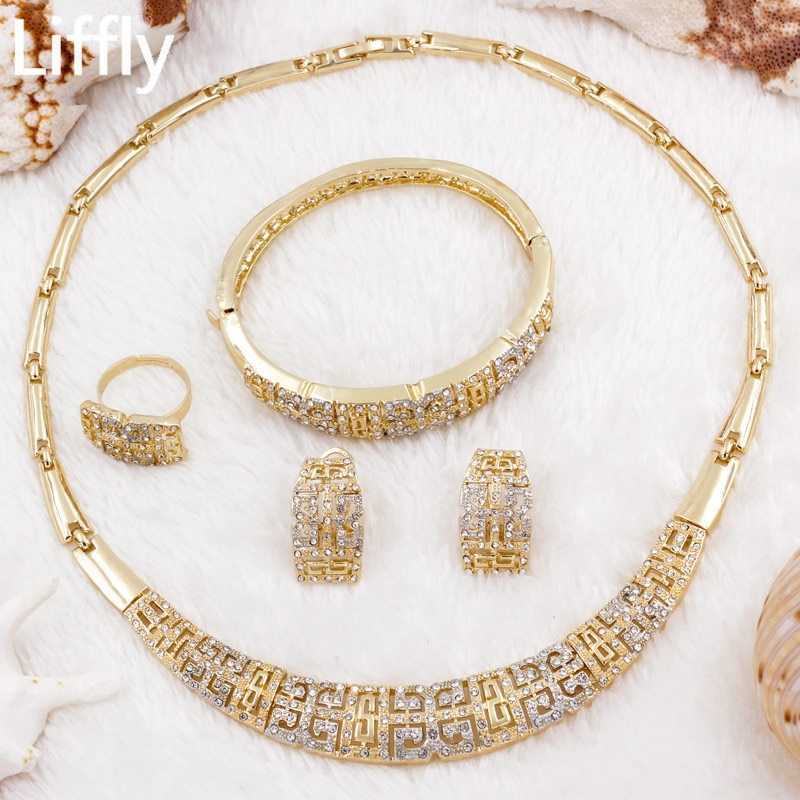 Ve new design 18 gold jewelry sets fashion charm women crystal necklace ring earring anniversary