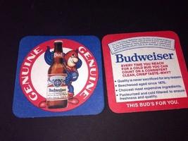 "2 BUDWEISER BUD MAN BEER CARDBOARD COASTER ORIGINAL 3 1/2"" SQ. - $6.93"