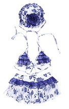 Girls Swimwear Two Piece Swimsuits of Kids Blue and White Porcelain Pattern