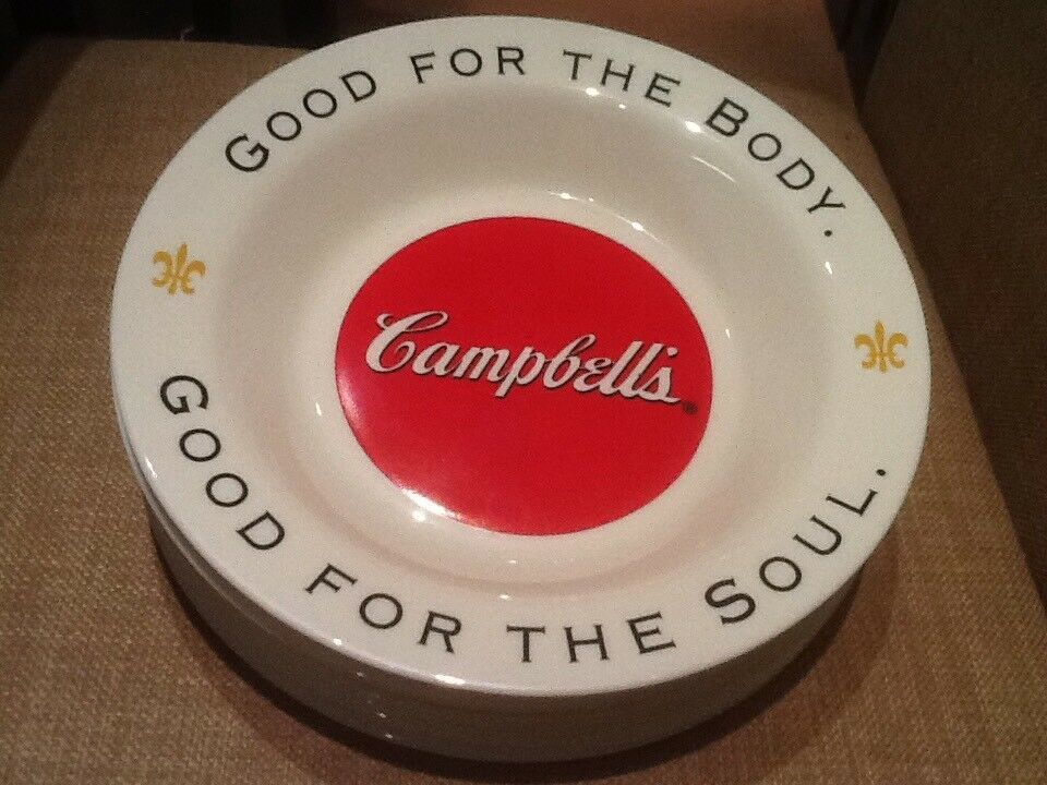 9 CAMPBELL SOUP BOWLS ARCOPAL FRANCE GOOD FOR THE BODY GOOD FOR THE SOUL NICE