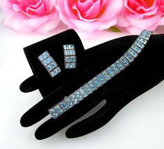 Bracelet & Earrings Set Light Blue Baguette Rhinestone Vintage Demi Parure - $54.95