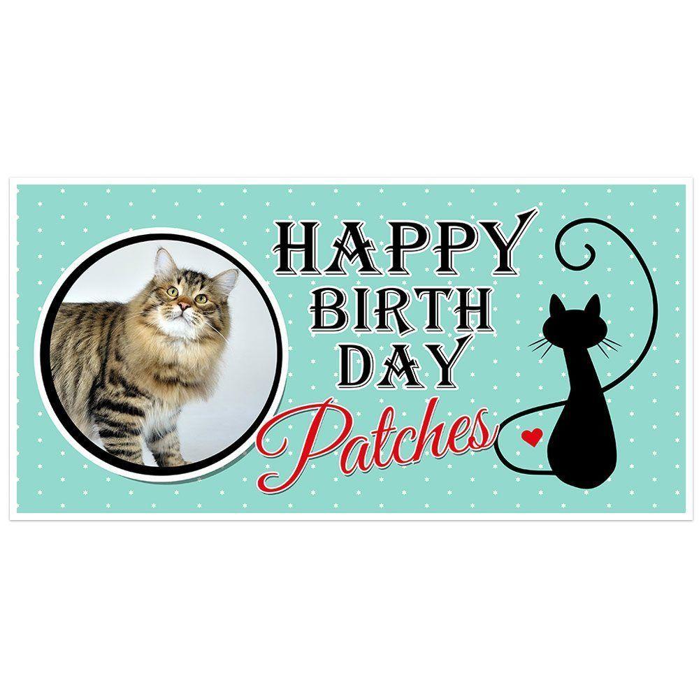 Cat Birthday Banner: Kitty Cat Silouette Birthday Banner Personalized Custom