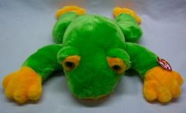 "Ty Beanie Buddies Very Soft Green Frog Baby Rattle 15"" Plush Stuffed Animal 1998 - $19.80"