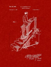 Stairclimber Patent Print - Burgundy Red - $7.95+
