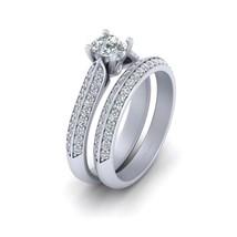 VVS-VS Clarity Half Carat DEF White Moissanite Wedding Ring Set Sterling Silver - $214.99