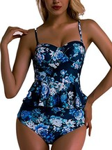 OGNEE Women Two Pieces Swimsuit High Waisted Bathing Suits Vintage Flora... - $19.65