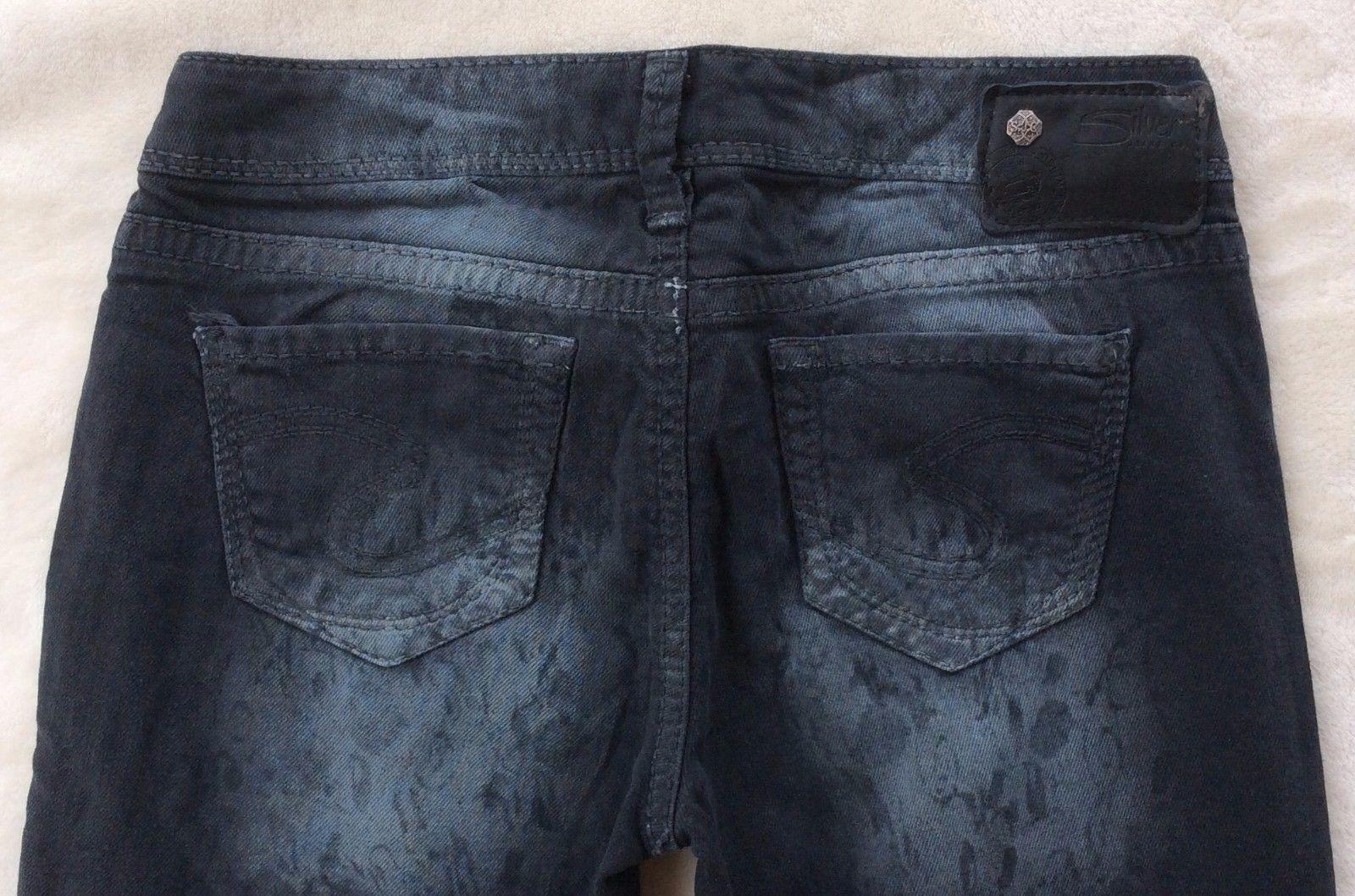 e6630b6a S l1600. S l1600. Previous. New SILVER Jeans Sale Buckle Printed Aiko  Skinny Black Grey Stretch Jean ...
