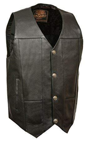 Primary image for Mens Leather Plain Side Buffalo Nickel Snap Vest, Black Size 4XL