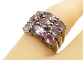 925 Sterling Silver - Vintage Oval Cut Amethyst 3-Row Band Ring Sz 6 - R... - $28.92