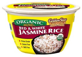 Golden Star Red and White Jasmine Microwavable Rice Bowls, Six Pack - $19.46