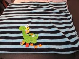 Taggies Dino Navy Blue Aqua Striped Green Dinosaur Tracks Tag Blanket Baby Boy - $34.64