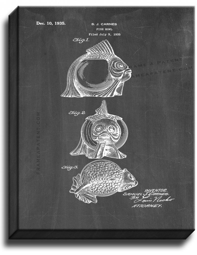Primary image for Fish Bowl Patent Print Chalkboard on Canvas