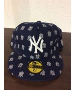 NEW New York Yankees MLB All Over Team Logo Fitted Hat Cap 59FIFTY Baseb... - $34.95