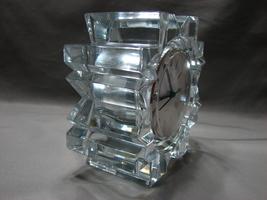 Mikasa Austria StarFire Crystal Clear Glass Star Quartz Round Clock Germany Made image 3