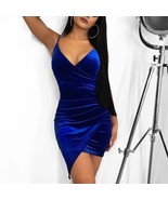 Women Sexy Spaghetti Straps Body Con Dress Velvet Fabric Split Front Dee... - $22.99