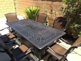 Fire pit dining propane table set 7 piece outdoor cast aluminum patio furniture image 6