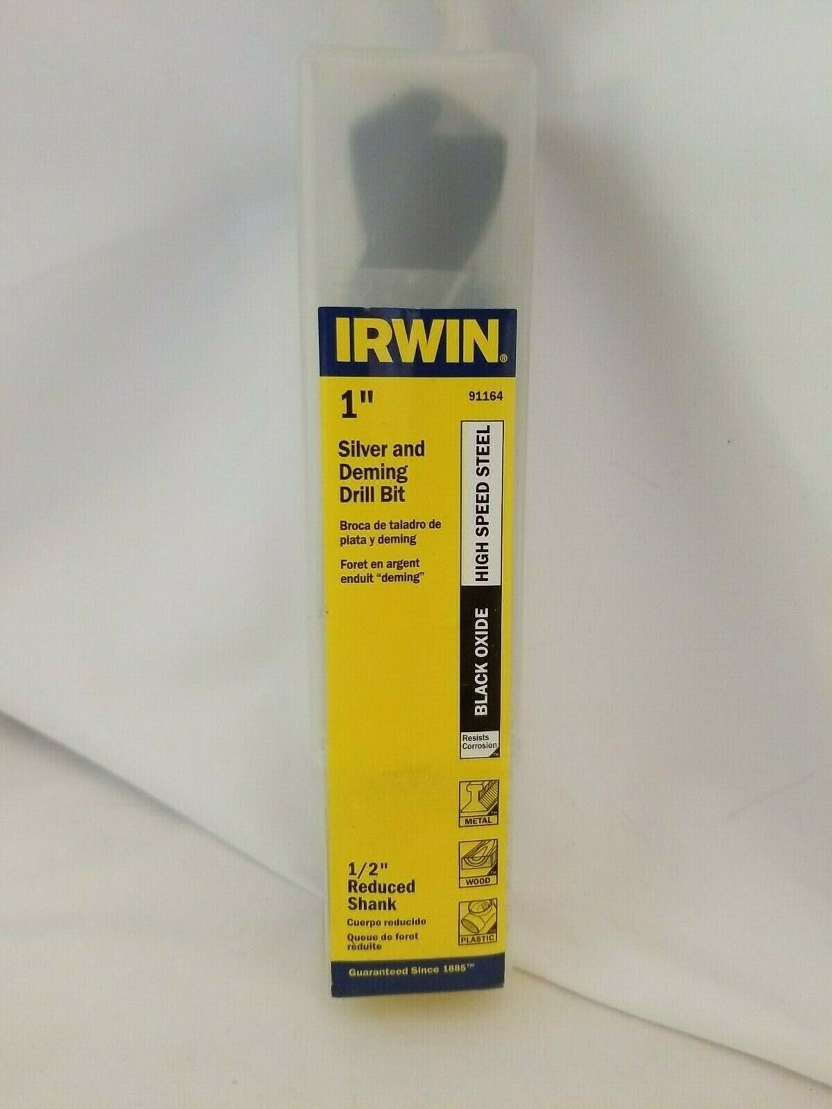"Primary image for Irwin 91164, 1"" Silver AND Deming Drill Bit 1/2"" Reduced Shank"
