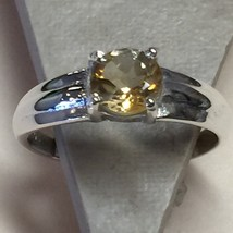 Genuine 1ct Citrine 925 Solid Sterling Silver Solitaire Ring sz 7.75 - $29.69