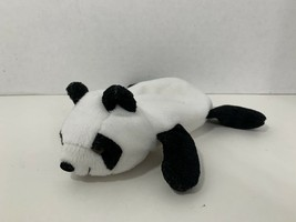 small plush beanbag panda bear semi-flat laying laying down - $8.90