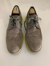 COLE HAAN LUNARGRAND WING TIP CHARCOAL GREY SUEDE YELLOW C10226 9 M - $49.49